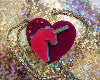 Unicorn heart acrylic pendant necklace