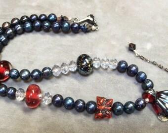 Lampwork Metallic Butterly Necklace-Artisan Lampwork Beads-Freshwater Pearls-Artisan Jewelry-Artisan Necklace-Art Beads-4th of July-SRAJD