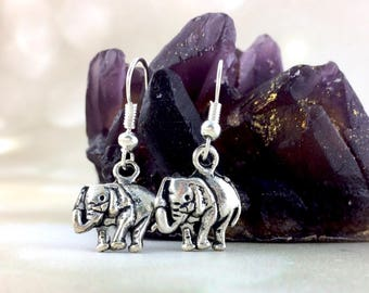 Sterling Silver Elephant Earrings - Elephant Gift For Her - Womens Elephant Jewelry - Dangle Clip On Animal Simple Cute Stocking Stuffer J25