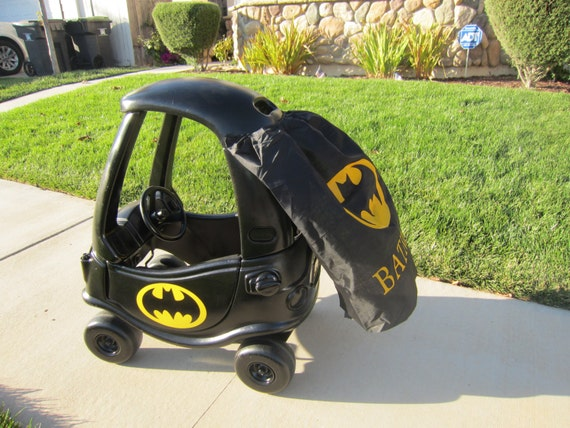 Batman or batgirl cozy coupe kit vinyl sticker and tutorial package w option for diy cape design no car included