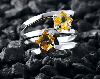 Yellow Citrine Ring 925 Sterling Silver Jewelry Personalized Womens Rings