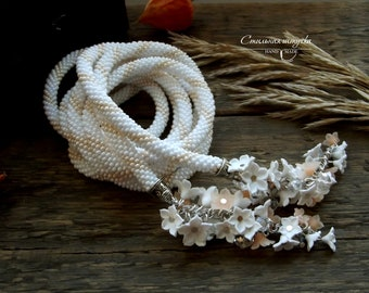 "Bead Crochet Necklace ""White flowers"" - Beaded necklace, Beaded rope, Beaded crochet, Handmade jewelry, Beadwork jewelry, Gift for her"