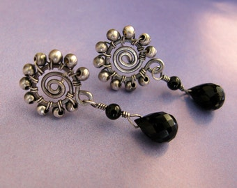 Wire Wrapped Black Onyx Stud Earrings, Sterling Silver Post Earrings, Handmade Round Dangle Gemstone Earrings