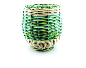Basket Double Woven Cherokee Made - Green/Yellow Stripe Tsalagi