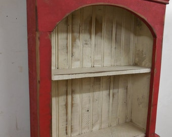 Shabby style wall shelf, primitive wall shelf,french country wall shelf, antique style wall shelf, distressed book shelf, beadboard shelf
