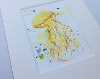 Jellyfish IV - original watercolour ACEO art trading card