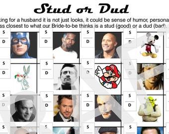 Bridal Shower Game - Stud or Dud