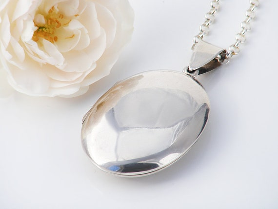 Vintage Sterling Silver Locket   Oval Photo Locket   Large Polished Smooth, Plain Locket   Mid Century - 27.5 Inch Sterling Silver Chain