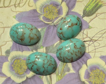 Vintage W Germany Flatback Cabochon 18x13mm Turquoise Matrix 4pcs Crystal Clay Jewelry Making Robins Egg Glass Cab