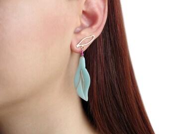 Leaf earrings, amazonite earrings,statement jewelry,  bohemian earrings, gypsy boho earrings, dangle drop earrings, turquoise earrings