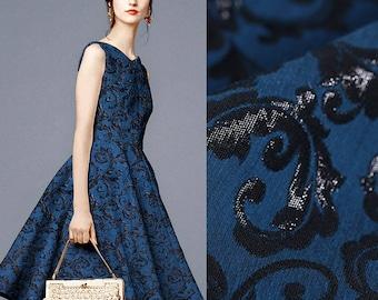 150CM Wide 280G/M Weight Black Jacquard Blue Polyester Cotton Linen Fabric for Spring and Autumn Dress Shirt Jacket DE467