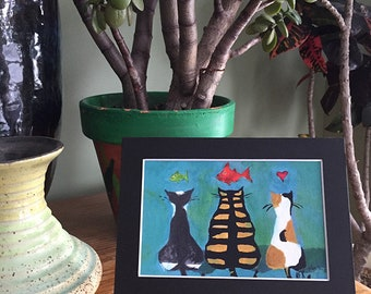 Three Cats with Fish Painting - Cat Art Print in 5x7 Black Mat - Gift for Cat Lover - Dream Cats - Tabby Cat -- Calico Cat