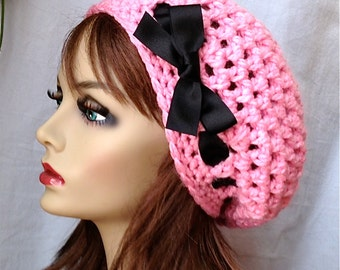 Crochet Slouchy Beret, Womens Hat, PINK or Pick Your Color, Ribbon, Chunky, Teens, Winter, Birthday Gifts, Gifts for Her, JE475BTR2