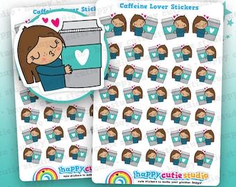 34 Cute Caffeine Lover/Tea/Coffee/Frappe Girl Planner Stickers, Filofax, Erin Condren, Happy Planner,  Kawaii, Cute Sticker, UK