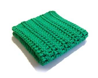 Bright Green Crocheted Square Dish Cloth