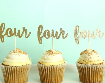 Four Cupcake Toppers - Fourth Birthday Cupcake Toppers - Four Party Decor - Fourth Birthday Party Decor - 4th Birthday Party Decor