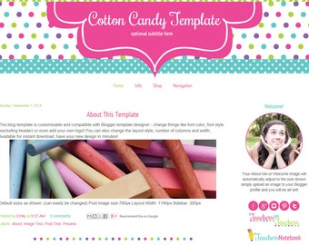 Premade Blogger Template - Teacher Blog Template - Craft Blog Template - Cotton Candy