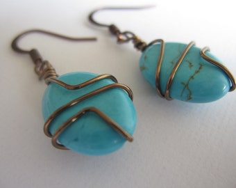 Turquoise and antiqued bronze Wire Wrapped drop Earrings