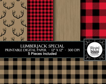 5 Digital Paper Backgrounds - Lumberjack Special - Printable Paper - Buffalo Plaid, Wood Grain, Deer Antler - Instant Download #41