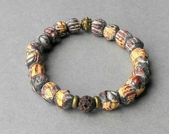 African Trade Beads, African Trade Bead Bracelet, Recycle Glass Trade Beads, Bronze metal, elastic strethc bracelet