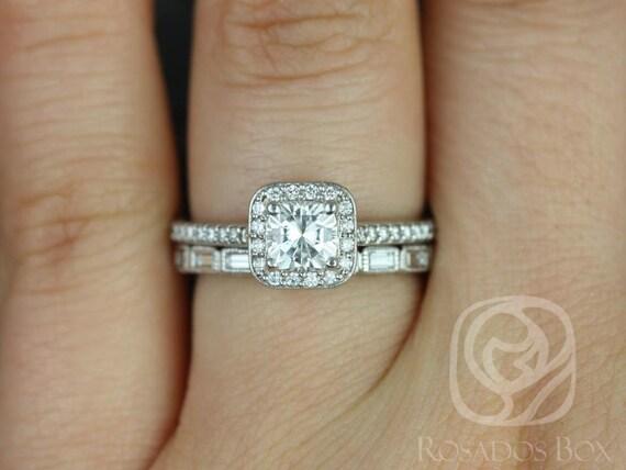 Rosados Box Camila 5mm & Rihani 14kt F1- Moissanite and Diamonds Cushion Halo Wedding Set