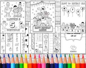 Personalized Sesame Street Birthday Birthday Party coloring pages, PDF file - NOT instant download!