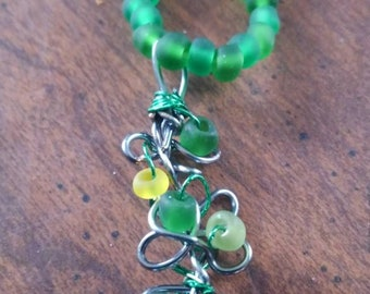 One of a Kind Twirled Wire Bead Necklace