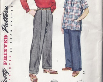 Simplicity Pattern No 4132 from 1950's Boy's Shirt and Slacks with Front Pleats and Cuffs