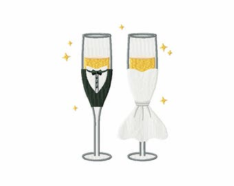 Sparkling Couple Champagne - Champagne Toast Collection #02 - Machine Embroidery Design