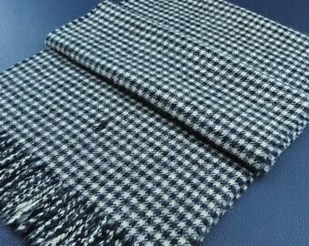 "Ralph Lauren Scarf Houndstooth Pattern Made in Scotland 100% Lambswool Scarf Muffler  56"" X 11.5"""