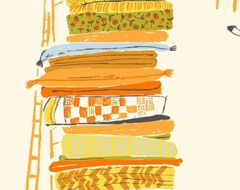 Princess and the Pea in White, Blue, Orange - Heather Ross Far, Far Away Reprint Fabric - Fat Quarter