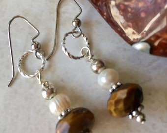 Tigers eye and pearl dangle earrings