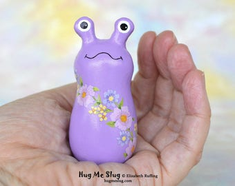 Handmade Slug Figurine, Miniature Sculpture, Lavender, Pink Floral, Hug Me Slug, Animal Totem Charm Figure with Flowers, Personalized Tag