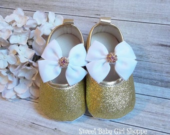 White and Gold 1st Birthday Outfit - Gold Baby Shoes - Pink and Gold First Birthday Outfit - Pink and Gold Birthday