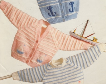 vintage knitting pattern for dk baby cardigans and jumper nautical theme anchor and ships 16-20 inches