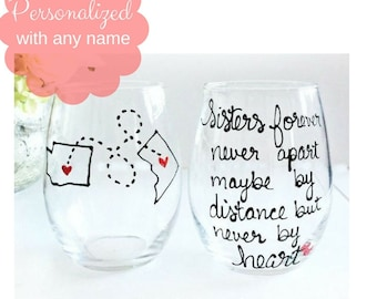Sister Gifts, Sister Wine Glass, Gifts for Sister, Birthday gift for Sister, Mother's Day Gift for Sister, All States and Countries