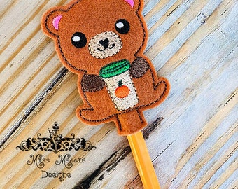 Bear pumpkin coffee latte Pencil Topper ITH Embroidery design