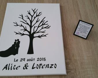 Tree prints on canvas 30x40cm with explanatory sign size