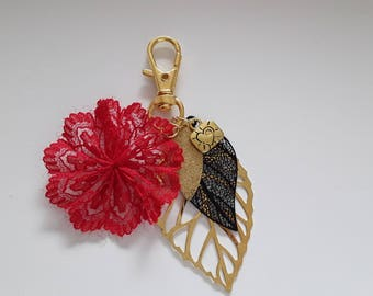 Flower jewelry red black and gold