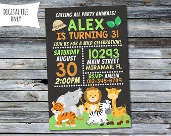 Jungle Invitation / Safari Birthday Invitation / Jungle Birthday Invitation (Personalized) Digital Printable File