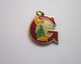 """Vintage Enameled Monogram """" G """" Charm Bracelet Charm Little Girl & Cat"""