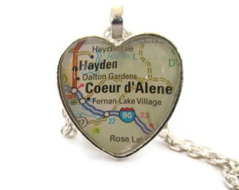 Coeur d'Alene Map Necklace, Idaho Necklace, Heart Shaped Pendant, Silver or Bronzed