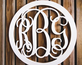 Vine Script Monogram- Wooden Monogram- Wall Hanging -Nursery Monogram- Wedding Monogram - Monogram Door Hanger