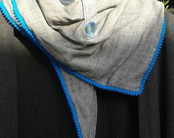 Blue pompom trim handmade cotton grey scarf