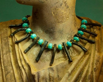 collar wood bead necklace
