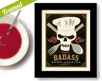 Kitchen Art Cooking Gift for Man Chef Wall Art Print Framed Print Day of the Dead Skull Chef Hat Skull