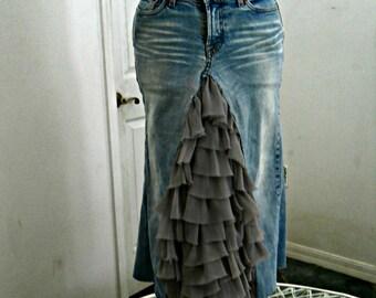 Ruffled taupe ballroom jean skirt tulle Renaissance Denim Couture fairy goddess mermaid belle bohémienne upcycled denim
