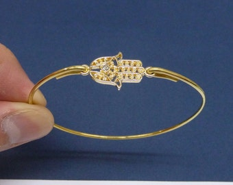 Gold Hamsa Hand Bangle bracelet, Hamsa Hand Jewelry, Hamsa Bangle, Hamsa Jewelry,Hand of Fatima Bangle Bracelet
