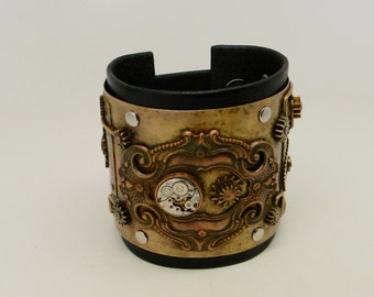 SALE...Steampunk leather cuff bracelet.