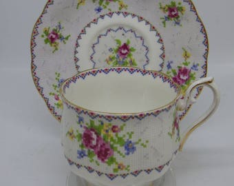Vintage Royal Albert Petit Point Cup & Saucer Duo pretty pink roses 10 available